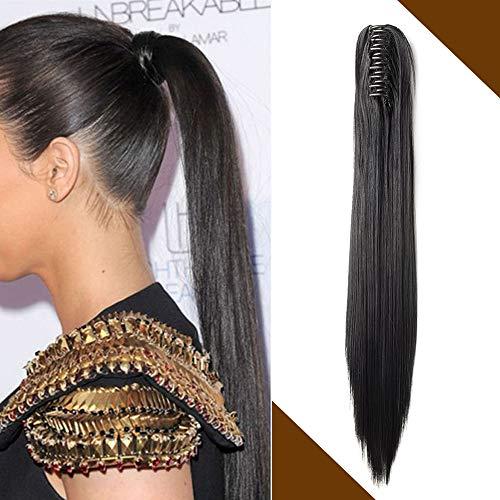 Pferdeschwanz Extensions Zopf Haarteil Clip in Ponytail Haarverlängerung mit Butterfly-Klammer Glatt Natürlich Synthetisch Haare wie Echthaar 140g 21