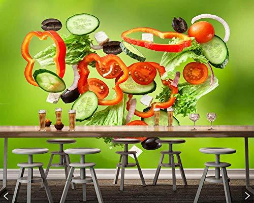 Sucsaistat GemÜSe Herz Lebensmittel Foto 3D Tapete, Wohnzimmer Sofa Tv Wand KÜChe Fast Food Shop Restaurant Bar Wandmalereien,300 * 210Cm -