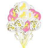 Oblique Unique® Einhorn Konfetti Luftballon Set für Kinder Geburtstag Feier Jubiläum JGA Unicorn Party Ballons Rosa Weiß