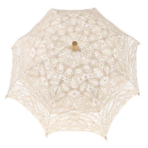 Ombrello da sposa vintage in pizzo con fiori parasole - beige
