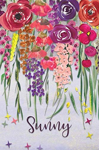 Sunny: Personalized Lined Journal - Colorful Floral Waterfall (Customized Name Gifts)