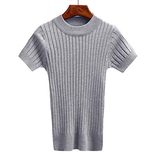 Masterein Frauen Pullover Tank Top Stricken T-shirt Kurzarm Crop Tops Engen Bustier Frauen Winter Jumper (Gerippt Baumwolle Rollkragen)