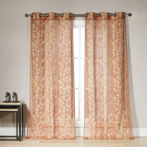 Duck River Textiles - Sarian Kunstleinen-Stickerei Blumen-Blätter-Vorhänge für Wohnzimmer & Schlafzimmer Set von 2 Paneelen (102 x 213,4 cm) - Leinen. (96 Vorhänge Leinen)