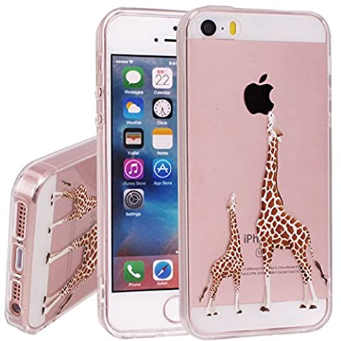 iPhone se Case, iPhone 5 5s Case, Yoowei Cute Cartoon Giraffe Ultra Light Soft Jelly Clear Gel TPU Silicone Shockproof Phone Case Protective Back Cover for Apple iPhone SE/5/5s