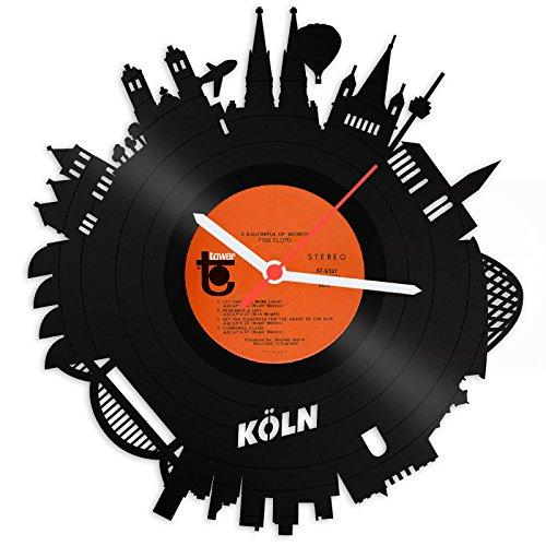 GRAVURZEILE Skyline KÖLN 2018 Wanduhr aus Vinyl Schallplattenuhr Upcycling Design-Uhr Wand-Deko Vintage-Uhr Wand-Dekoration Retro-Uhr Made in Germany