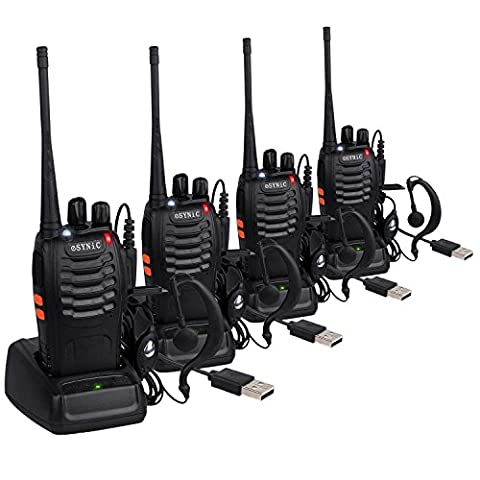 Walkie Talkies-Long Range Walkie Talkie with Original Earpieces- 4pcs UHF 400-470MHz Two-Way Radio Walky Talky 16CH Single Band Supports VOX LED Light Voice Prompt for Field Survival Biking and Hiking