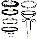 CargoMix 6 Stück Choker Halskette Set Stretch samt klassische gotische Tattoo Spitze Choker für Frauen Mädchen Damen Zubehör