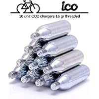 ICO - CO2 cartridge 16g threaded - 10 PACK - For threaded CO2 bike inflator - Pumps MTB or any road Cycling tIre.