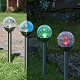 Crackle Ball Stake Lights - Solar Powered - Colour Changing LEDs - Glass & Stainless Steel - Pack of 4 by Festive Lights
