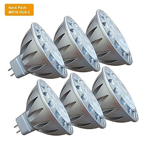 AlideTech GU5.3 MR16 LED Daylight White 50W Halogen Replacement, Super Bright 7W 12V Led Spot Bulbs, 4000K, GU 5.3 Fitting, Aluminum Casing, 560LM, 38 Degree Beam Angle, 6-Pack