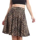 Islander Fashions Damen Plissee Taillenband Flared Swing Skater Rock Damen Party Wear Rock Braun Leopard Medium/Large