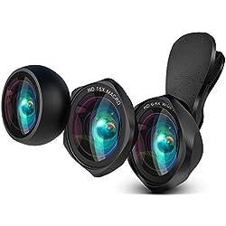 LUXSURE HD Kit Objectif Grand Angle 100 ° + Objectif Macro Macro + Objectif Fisheye Fisheye Compatible avec iPhone XS/XS Max/XR/x/8 Plus/Samsung Galaxy Note s9/s8/s7