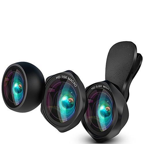 LUXSURE HD Handy Objektiv Set 100°Weitwinkelobjektiv+15X Makro Objektiv+Fisheye Objektiv Fischauge...