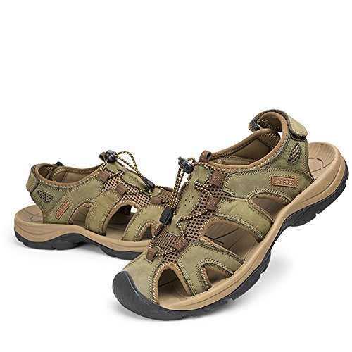Aiyuda Leder Sandalen für Männer Trail Outdoor Wasser Schuhe Wandern Wandern Strand Armeegr¨¹n
