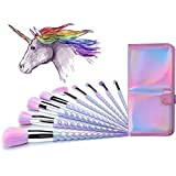 Ammiy Unicorn Makeup Brushes Set Fantasy Makeup Tools Foundation Eyeshadow Unicorn Brushes Kit With Case (10Pcs)