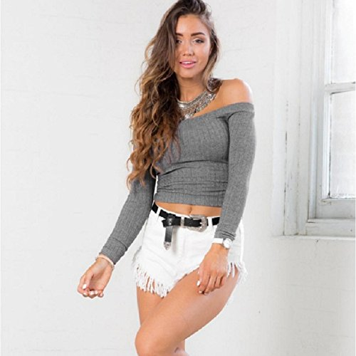 OVERDOSE Damen Ärmel Kurzarm Top Enge Sweater Knitting Beiläufiges Trägerloses T-Shirt Grau