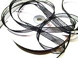 CaPiSo 100m x 10mm Organzaband,Schleifenband,Geschenkband (Schwarz)