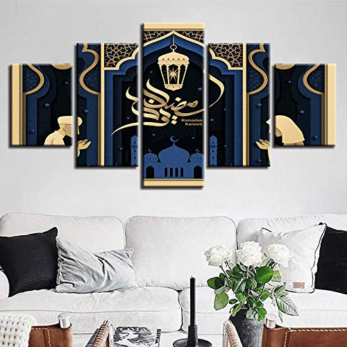 Modulare Leinwand Gemälde Wandkunst 5 Stücke Islamische Moschee Ramadan Poster Wohnkultur HD Drucke Muslim Allah Der Koran Bilder größe 1 Rahmen