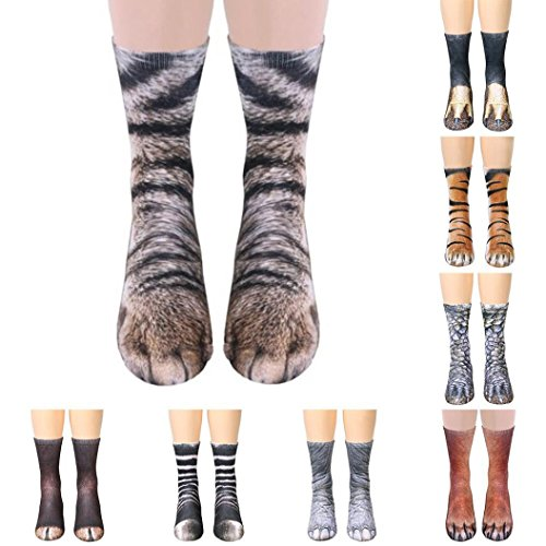 Toamen Novelty Socks, Women Man Unisex Lifelike Animal Paw Sublimated Print Crew Socks, Polyester Rich, Comfortable, Breathable, High Performance Thermal Socks