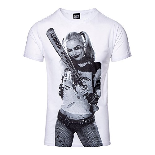 Suicide Squad Harley Photo T Shirt Imprimé Super Vilain (Blanc) - X-Large