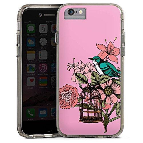 Apple iPhone X Bumper Hülle Bumper Case Glitzer Hülle Bird Vogel Tattoo Bumper Case transparent grau