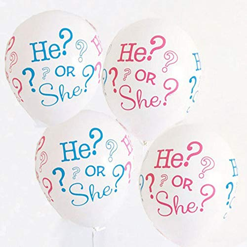 Gender Reveal - 10pcs He Or She Printing Balloons Baby Gender Reveal Party Shower Decor Balloon Boy Girl Birthday - Balloon Keeper Yellow Cream Tickets Voting Target Favors Pink Items Hats Table