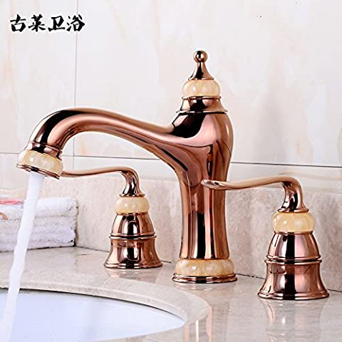 Tougmoo Robinets Rose 3trous Mélangeur de lavabo Jade Or rose d'or chaude et froide Poignée double pour robinets, Rose Jin Huangyu