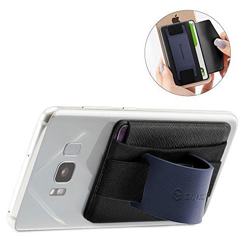 Preisvergleich Produktbild Sinjimoru Fingerhalterung und Handy Ständer mit Kartenhalter / Smartphone Kartenetui,  Handygriff und aufklebbare Geldbörse in Einem,  Smart Wallet für iPhone und Android. Sinji Pouch B-Grip,  Navy.