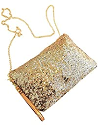 fengge mujeres bolso Sequined Envelope Party Evening bolso de embrague (dorado)