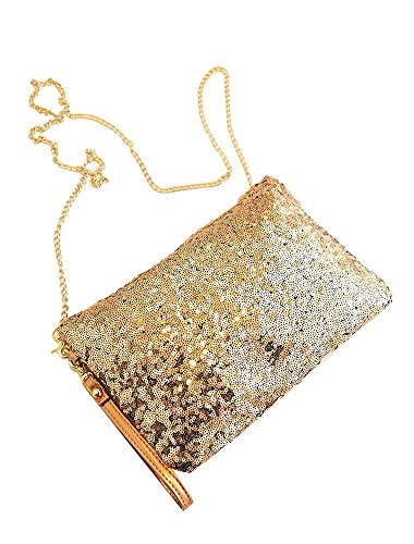 PRIMI Vintage Pailletten-Umschlag Party Abend Clutch Handtasche Handtasche, gold (Gold Vintage Handtasche)