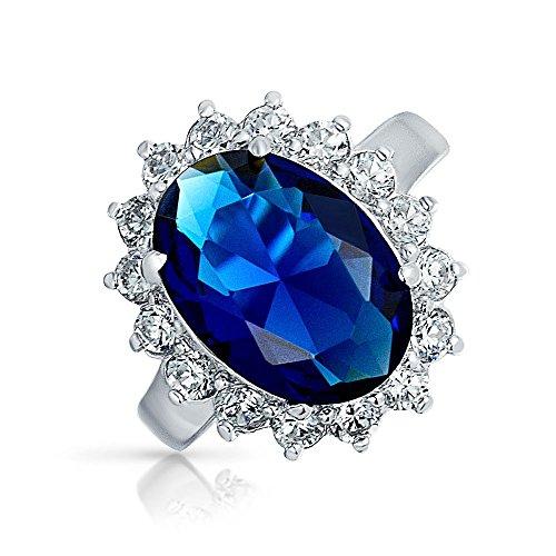 Royal 6 Licht (Bling Jewelry 6Ct Royal Blue Oval Zirkonia Simulierten Sapphire Cz Krone Halo Engagement Für Damen Versprechen Ring Sterling Silber)