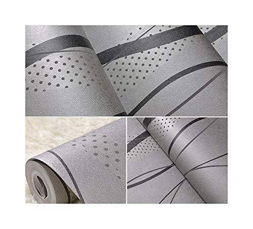 Holzkohle Grau Streifen (YYZC Schwarz-graue gestreifte Tapeten-Moderne Schlafzimmer-Gebogene Streifen-Tapetenrolle für Wohnzimmer Fernsehhintergrund)