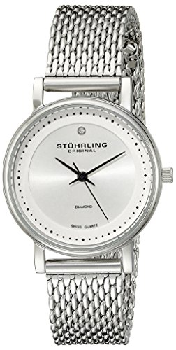 Stuhrling Original Women's 734LM.01 Classic Ascot Casatorra Elite Swiss Quartz Genuine Diamond Stainless Steel Mesh Bracelet Watch