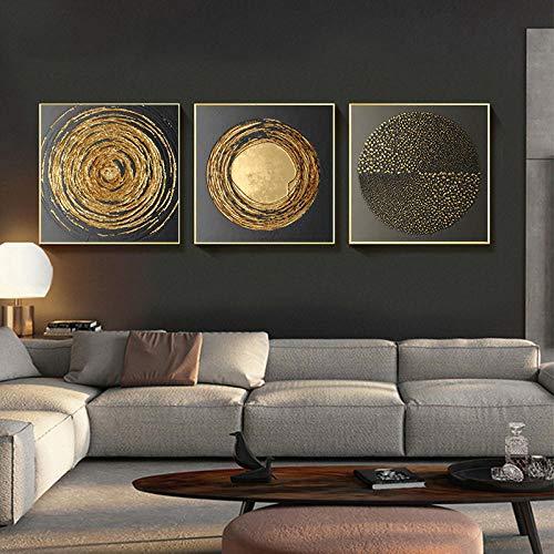 RuYun Peinture sur Toile Abstraite Or Noir Carré Texture Affiches Et Impressions Mur Art Photos pour Salon Home Decor 50cm x50cm x3p Pas de Cadre