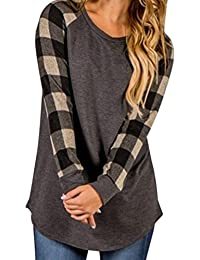 99native Native99 Women O-Neck Plaid Loose Sweatshirt Pullover Tops Blouse Shirt