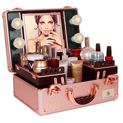 Beleuchtung Ecke Der Tasche (LUVODI Klein Beautycase mit Beleuchtung & Kosmetikspiegel, Kosmetikkoffer Make Up Pilotenkoffer Schminkkoffer 38 x 17 x 29 cm, Rosa Gold)