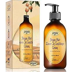 Vitamins Creme Apres Shampoing Sans Rinçage, Leave in Conditioner Produit Cheveux Abîmés & Secs Intense à l' Huile d'Argan (Normal, Épais)