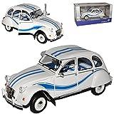 alles-meine.de GmbH Citroen 2CV 6 Weiss Blau Frankreich Ente 1949-1990 1/18 Solido Modell Auto mit individiuellem Wunschkennzeichen
