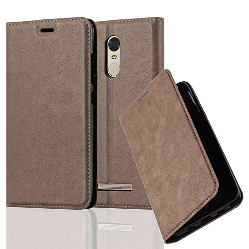 Cadorabo Hülle für Xiaomi RedMi Note 3 - Hülle in Kaffee BRAUN – Handyhülle mit Magnetverschluss, Standfunktion und Kartenfach - Case Cover Schutzhülle Etui Tasche Book Klapp Style
