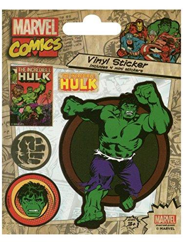 l Marvel Comics (Hulk Retro) Vinyl Aufkleber, Papier, Mehrfarbig, 10x 12,5x 1,3cm ()