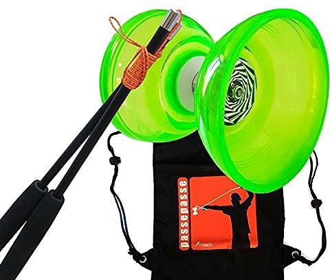 PassePasse Cloudbuster III Diabolo Triple Roulement à bille 115mm - Vert - Baguettes en Carbone equipées du ficelle Slide Pro - Sac à dos 'iJuggle'