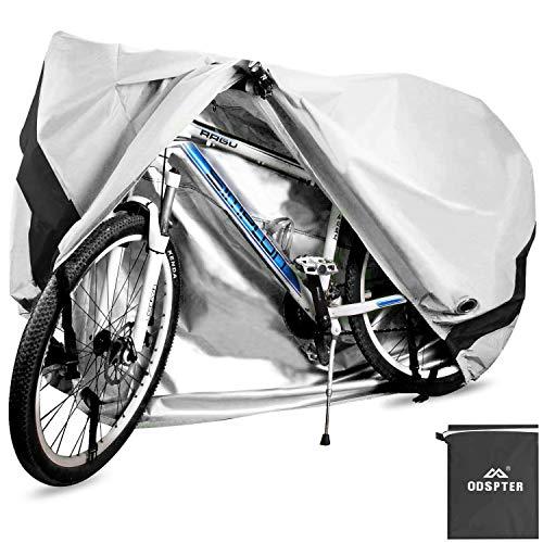 ODSPTER Fahrradabdeckung für 2 Fahrräder, wasserdichte 210D Oxford-Gewebe Atmungsaktives Draussen Fahrrad Schutzhülle mit Schlossösen Schutz, für Mountainbike und Rennrad 29 Zoll (Silber)