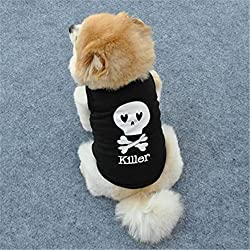 Bluester Summer Cute Dog Pet Vest Skull Printed Cotton T Shirt Tops