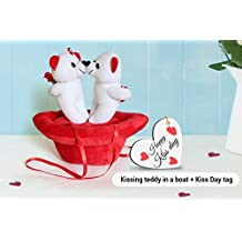 TIED RIBBONS Kiss Day special gifts for Girlfriend Wife Her Combo Pack(Kissing Teddy in a Boat with Kiss Day Wooden tag)
