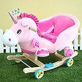 VERCART Chaise à Bascule ou Poussette Animal avec Dossier et Accoudoir Double Usage Cadeau pour Bébé Enfant Licorne Rose