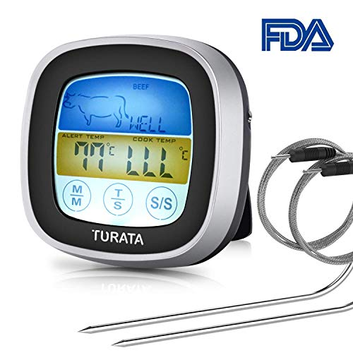 TURATA Digitales Bratenthermometer, Grillthermometer BBQ Digital Thermometer Doppelsonde Berühren Fleisch Thermometer mit LCD-Display
