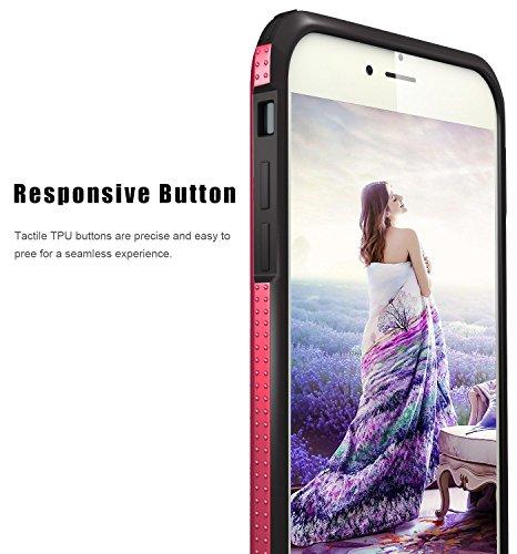 iPhone 6S Plus Hülle, Pasonomi® iPhone 6 Plus Ultra dünne Defender Silikon Bumper Case Handy Tasche Etui Schutzhülle für Apple iPhone 6/6S Plus (5,5 Zoll) (Schwarz / Silber) Schwarz / Hot Pink