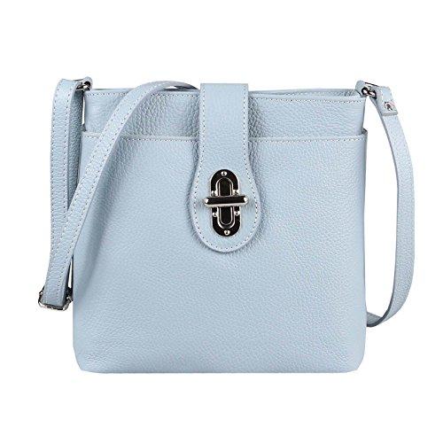 OBC Damen Leder Tasche Schultertasche Crossover Umhängetasche Vera Pelle Schmucktasche Clutch Abendtasche Cross Body City Bag (Hellblau)