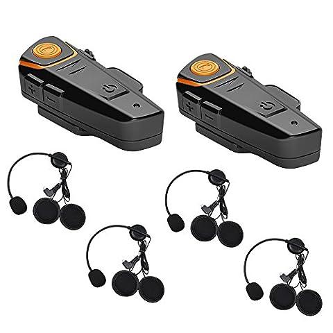 Geekshopalbert 2 x 1000 m Bluetooth Intercom Eigenschaften alle Wetter Wasserdicht Motorrad Motorrad Helm Intercom Interphone Headset für automatische Funktion und genießen Sie die Musik/FM Radio (Pack 2 Add 2 Set Earphone)