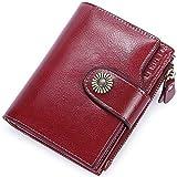 Cartera Mujer Cuero Autentico Billetera Mujer Piel Pequeña con Cremallera, Carteras con Monedero para Mujeres con 18 Tarjetas y Billetes, Billeteros de Mujer Piel Pequeño (Rojo)